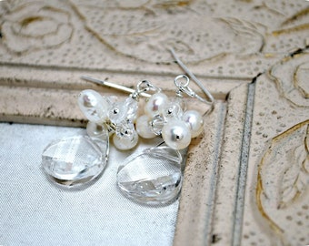 Bridal Earrings, Freshwater Pearl Cluster Earrings, Swarovski Briolette Bridal Jewelry, Swarovski Crystal Wedding Jewelry