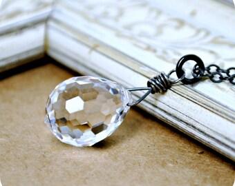 Crystal Pendant Necklace, Ice Crystal Swarovski Pendant, Crystal Briolette Pendant, Gothic Necklace, Layering Necklace, Vintage Inspired