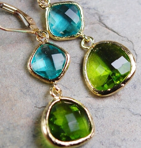 Aqua Blue Peridot Green Glass Earrings, Faceted Components, 14K Gold Fill Leverbacks, Bridesmaid Gift