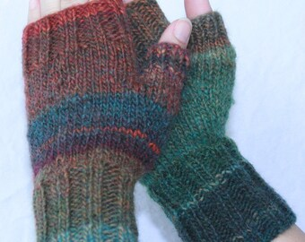 Hand-knit  Fingerless Mittens with Thumb, Arcadia,  size small