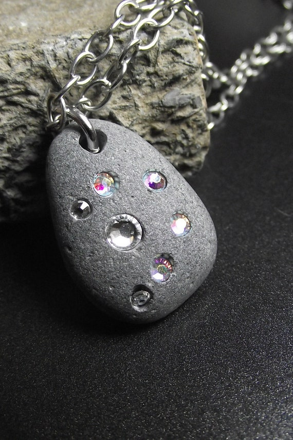 Beach Stone Jewelry - THE LONG way HOME  - Beach Rock and Swarovski Crystal Necklace
