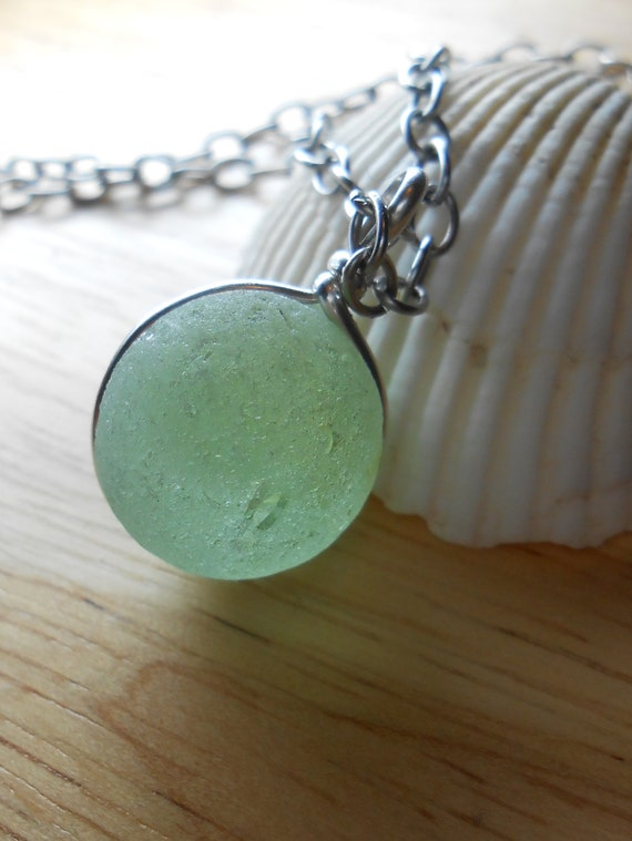 Moonstruck - Sea Glass Jewelry - Antique Seaglass Marble Necklace