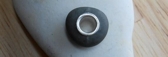 Beach Stone Pendant - KARMA WHEEL - Gray Beach Stone Bead Jewelry by Sea Find Designs on Etsy