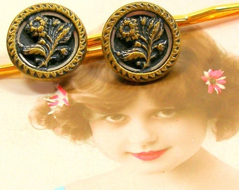 SALE 1800s BUTTON bobby pins, Victorian FLOWERS on gold hair pins, grips.