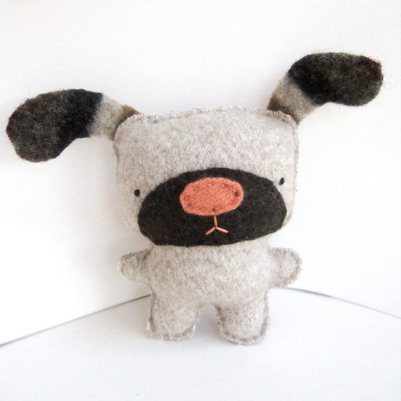 Light Beige Dog - Recycled Wool/Cashmere Plush Toy RESERVED FOR JESS