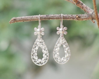 Drops of Dreams - Needle Lace Earrings with Tiny Sweet Water Pearls