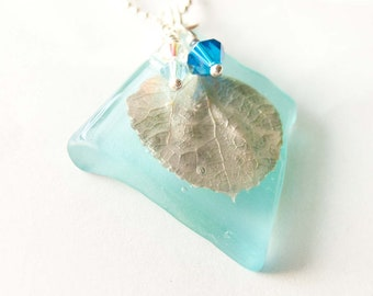 Blue Recycled Glass Pendant, Silver Aspen Leaf Necklace,  Nature Jewelry