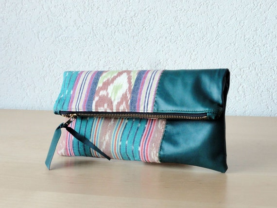 Leather Clutch in Teal Italian Leather and Handwoven Ikat Fabric in Turquoise Colour - Indie Patchwork Series