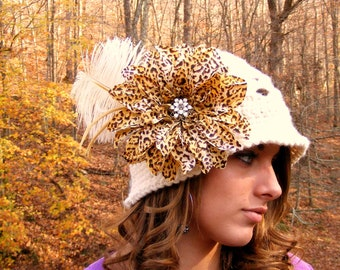 Crochet Pattern - Kids Crochet Hat Pattern - Tutorial 4 Flower with Vintage Jewelry Feathers - Flower Feather  No.57