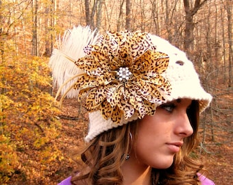 Crochet Pattern - Kids Crochet Hat Pattern - Flower with Vintage Jewelry and Feathers - Flower and Feather Instant Download No.57