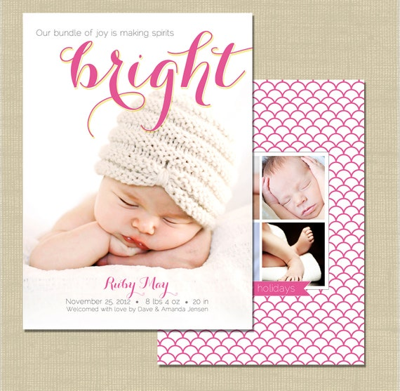 items similar to holiday birth announcement photoshop card template spirits bright on etsy