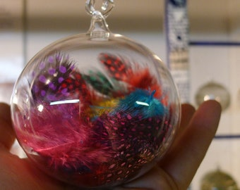 Clear Glass Ornament with Feathers - Hand Blown and Sculpted by Jenn Goodale