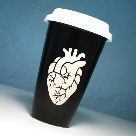 Anatomical Heart BLACK Ceramic Travel Mug - insulated coffee cup w/ BPA-free lid