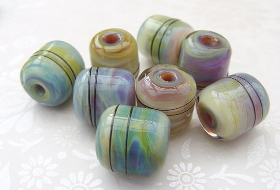 Lampwork Glass Beads Muted Earth Barrels
