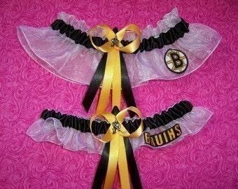 Boston Bruins Wedding Garter Set   Handmade   Keepsake and Toss