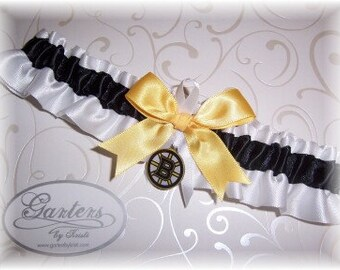 Boston Bruins Wedding Garter  Handmade  Toss   Satin W-BGW