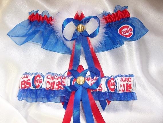 Chicago Cubs Wedding Garter Set with  Marabou Pouf Handmade Keepsake and Toss