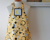 SALE!! Yellow Geo Little Kids/Toddler Apron Ages 2-6 Personalized Letter  - Reversible Apron with Pockets
