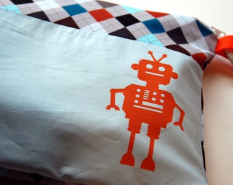Argyle Plaid Screenprinted Orange Robot Zippered Wet Bag with Handle/Link Loop Combo
