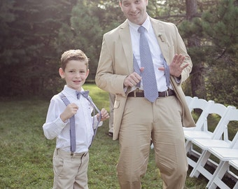 Boy's Bow Tie and Boy's Suspenders in Navy Blue Gingham, Ring Bearer Outfit