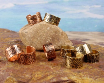 TEXTURED COPPER CUFF - Ear Cuff - Embossed and Antiqued Abstract Texture in Copper