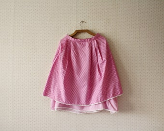 vintage 1970's hot pink dotted high waisted bohemian skirt