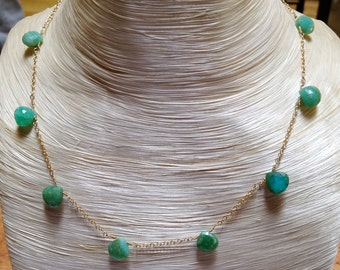 Faceted Peruvian Opal Drops on 18k Gold Chain - 16""