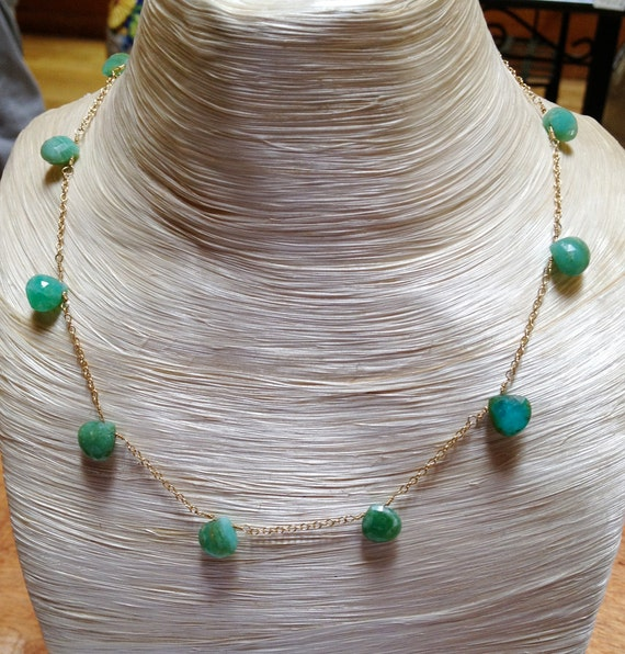 """Faceted Peruvian Opal Drops on 18k Gold Chain - 16"""""""