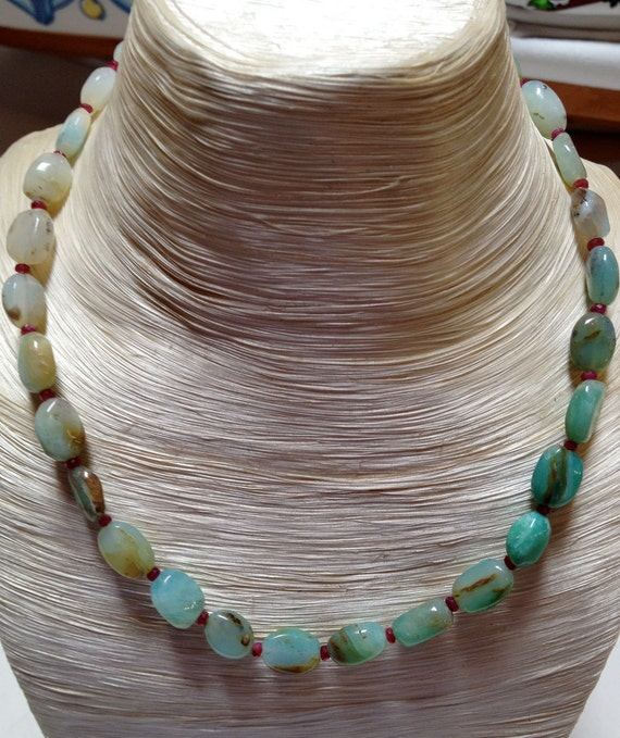 Peruvian Opal, Ruby and 14k gold necklace.