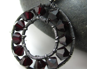 Deep Red Sterling and Swarovski Ring Necklace