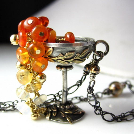 Fire Goblet Necklace - Sterling and Gold Fill with Fire Opal