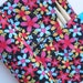 double pointed knitting needle case - crochet hook - organizer - 14 pockets - colorful flowers on black