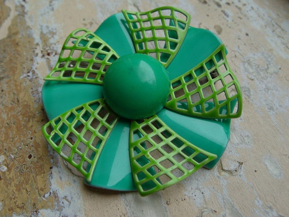 FREE SHIPPING Vintage Green and Turquoise Enamel Flower Brooch