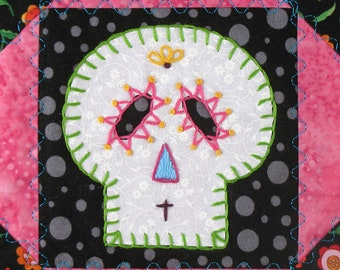 Sugar Skull Quilt, Pink and Turquoise