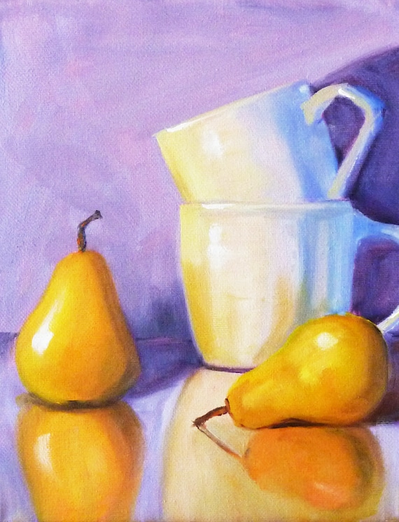 Items similar to still life oil painting pears on canvas for Purple and yellow painting