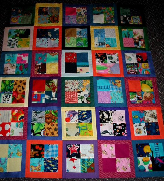 patchwork quilt top, eye spy, for boy or girl