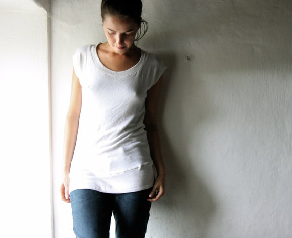 RESERVED - White Short Sleeved Tshirt top - womens tunic tank top in stretch jerseu