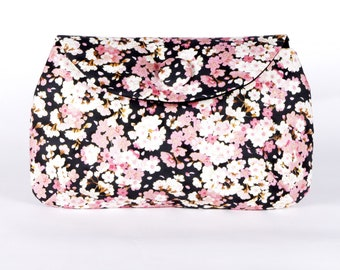 Charcoal cherry blossom clutch purse