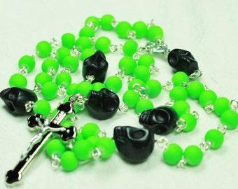 Muertos Skull Rosary in DayGlo Green with Black Skulls