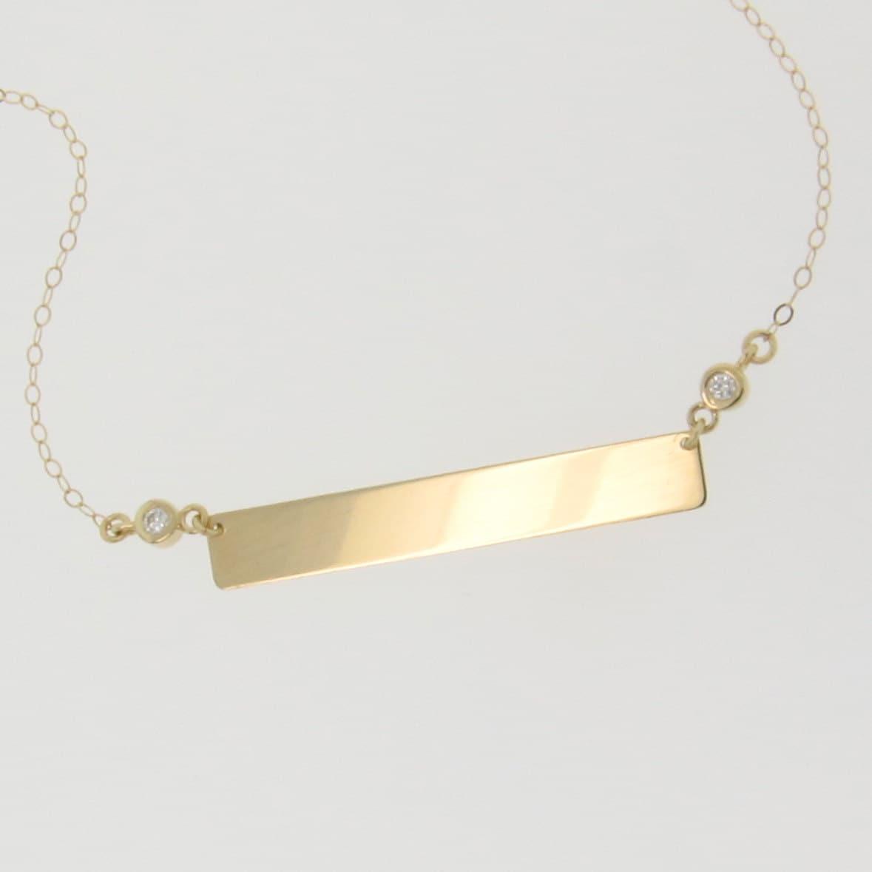 diamond nameplate necklace gold bar necklace engravable 14k. Black Bedroom Furniture Sets. Home Design Ideas