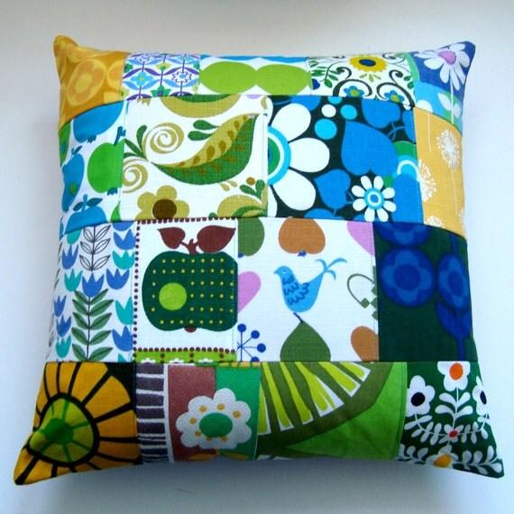 Retro Scandinavian Design Decorative Patchwork Vintage Fabric Cushion / Pillow Cover - Blue. Green, Turquoise