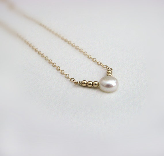 Single Pearl Necklace, 14K Gold Fill, Freshwater Pearl, Tiny Gold Beads, Modern Everyday Jewelry