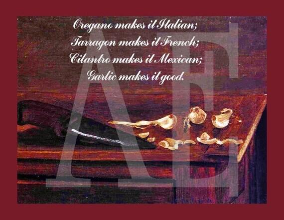 RC-027 Artistic Ephemera Recipe Cards - Set of 8 - Fine Art Still Life 'Garlic Makes it Good' - Also Available as Postcards