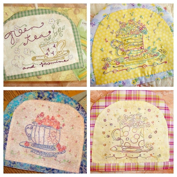 Teacup Hand Embroidery Pattern Set PDF Instant Download