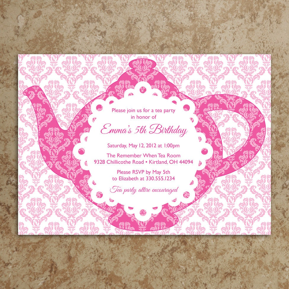 Sassy image throughout free printable tea party invitations