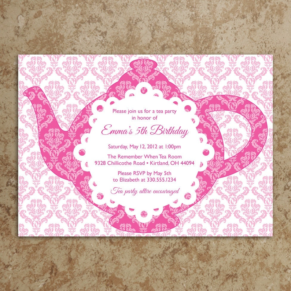 Diy Tea Party Invitation Template
