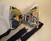 Pre Tied Adjustable Bow Tie made with Superman Comics Fabric