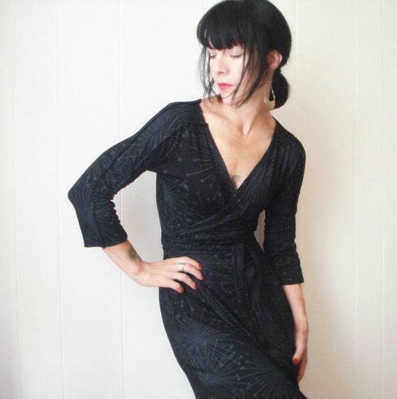 Somewhere In the Night - iheartfink Handmade Hand Printed Womens Black Jersey Wrap Dress