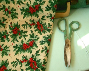 Vintage style Holly Berry Christmas Holiday Fabric - one yard of new fabric