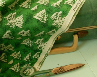 Vintage style Green Christmas Tree and Snow Holiday Fabric - one yard of new fabric